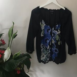 WHBM Black Semi Sheer Floral Embroidered Boho Top